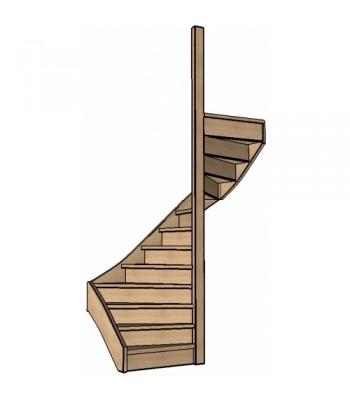 Eiken trap halve slag | rechts | dicht