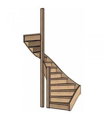 Eiken trap halve slag | dubbel spil | links | dicht