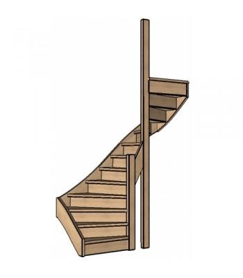 Eiken trap halve slag | dubbel spil | rechts | dicht