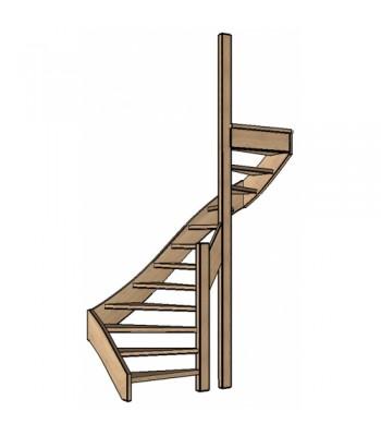 Eiken trap halve slag | dubbel spil | rechts| open
