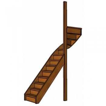 Mahonie trap bovenkwart | rechts | dicht