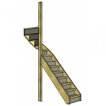 Vuren trap bovenkwart | links | dicht