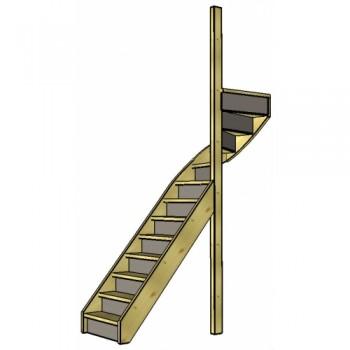 Vuren trap bovenkwart | rechts | dicht