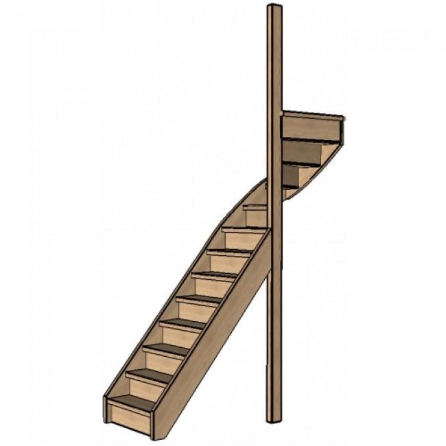 Eiken trap bovenkwart rechts dicht for 2 kwart trap
