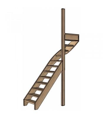 Eiken trap bovenkwart | rechts | open
