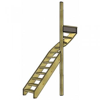 Vuren trap bovenkwart | rechts | open