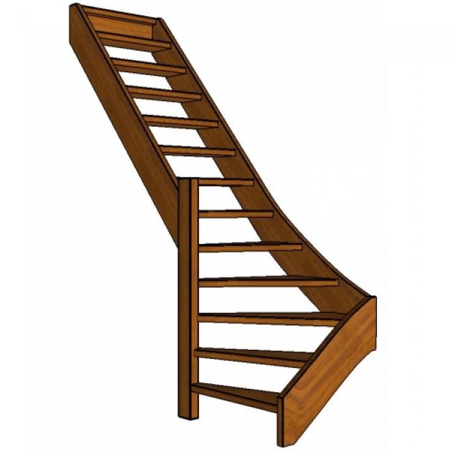 Mahonie trap onderkwart links open for Trap onderkwart