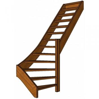 Mahonie trap onderkwart | rechts | open