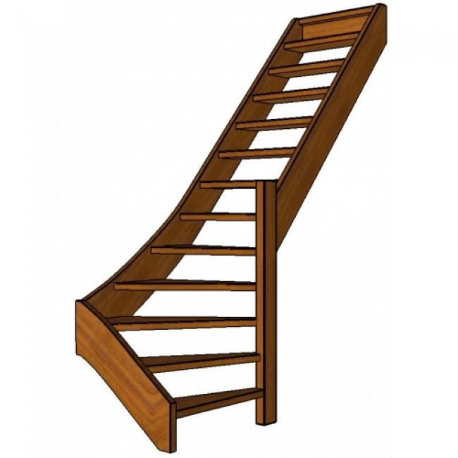 Mahonie trap onderkwart rechts open for Trap onderkwart