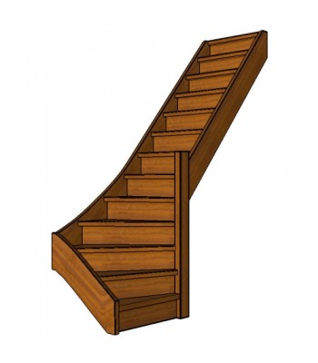 Mahonie trap onderkwart | rechts | dicht