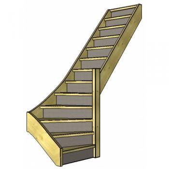 Vuren trap onderkwart | rechts | dicht
