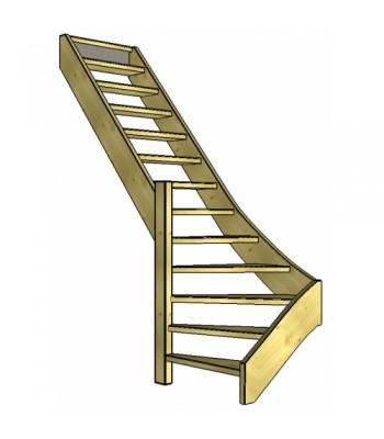 Vuren trap onderkwart | links | open