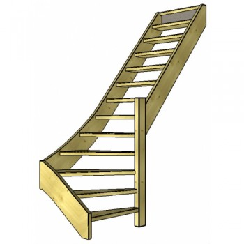 Vuren trap onderkwart | rechts | open