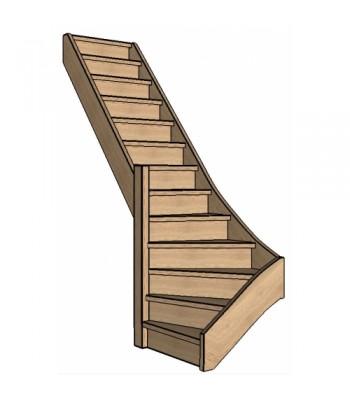Eiken trap onderkwart | links | dicht