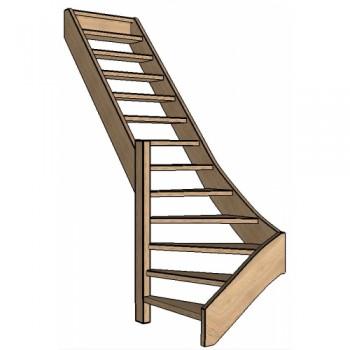 Eiken trap onderkwart | links | open