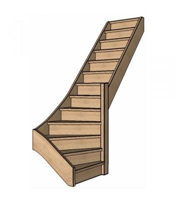 Eiken trap onderkwart | rechts | dicht