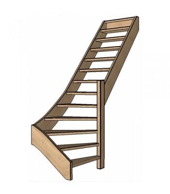Eiken trap onderkwart | rechts | open