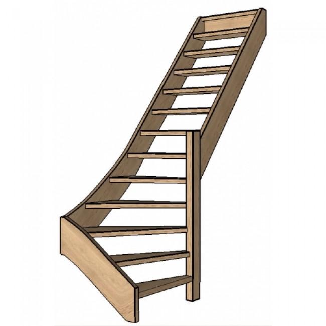 Eiken trap onderkwart rechts open for Trap onderkwart